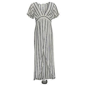 K Jordan Women's Top Striped Flyaway Stripe Blouse Black / White