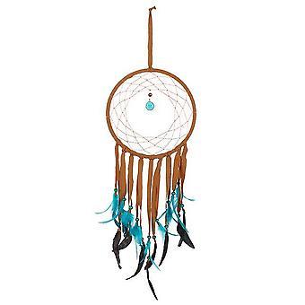 Etwas anderes aus braunem Wildleder-Traumfänger mit Türkis Federn