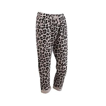 Womens Leopard Print Classic Cotton Slouch Trousers | Beige | One Size