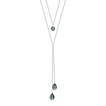 ADEN 925 Sterling Silver faceted Labradorite Necklace (id 4535)