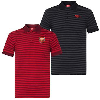 Arsenal FC Official Football Gift Mens Yarn Dye Marl Striped Polo Shirt
