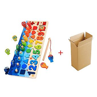 Montessori Educational Wooden Toys For Kids- Board Math Fishing Count Numbers Matching Digital Shape Match Early Education