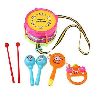 Kids Roll Drum Band Kit Noise Maker- Handbell Trumpet Sand Hammer Musical