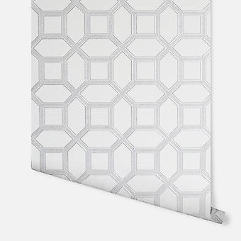 295603 - Luxe Origin White & Silver - Arthouse Wallpaper