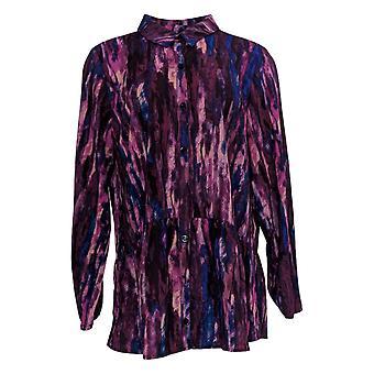 LOGO door Lori Goldstein Women's Top Stretch Geweven Button Frt Purple A365840