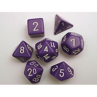 Chessex Opaque Polydice Set - Purple/white