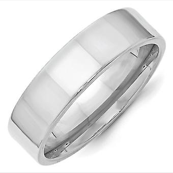 14k White Gold 6mm Standard Flat Comfort Fit Band Ring Jewely Gifts for Women - Ring Size: 4 a 14