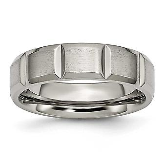 Gitânio Ggravável Polido e satina Com entalhe de 6mm Grooved Satin e Band Ring Jewely Gifts for Women - Ring S