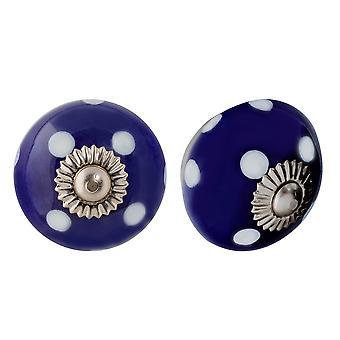 Nicola Spring Ceramic Cupboard Drawer Knobs - Polka Dot Design - Scuro / Azzurro - Pacchetto di 6