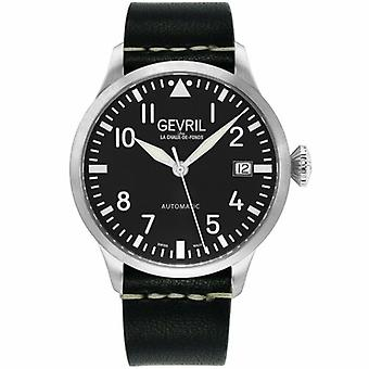 Gevril Men's 43500 Vaughn Swiss Automatic Black Leather Date Wristwatch