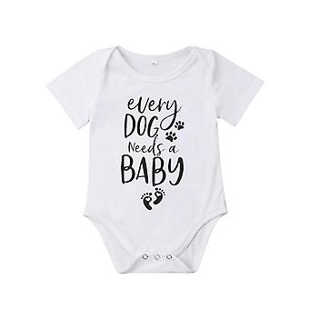 Newborn Kids Baby, - Foot Print Short Sleeve Romper Jumpsuit, Outfit Summer
