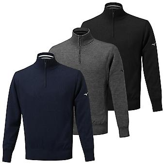 Mizuno Mens 2020 Windproof Lined Quarter Zip Lightweight Logo Golf Sweater