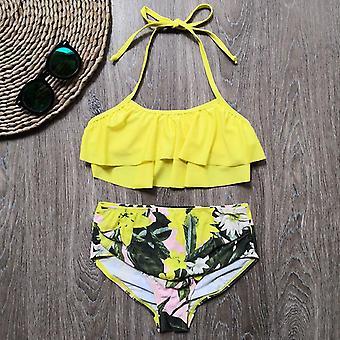 5-14 rokov Plavky, Deti Plavky Leaf Tlač Teenage Bikini Halter Kúpanie