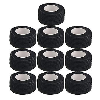 Black Athletic Tape Elastic Self-Adherent Tape Used for Body Set of 10