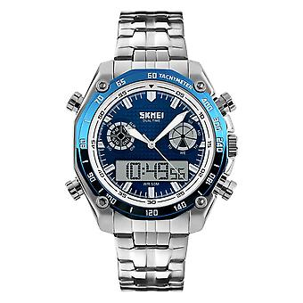 SKMEI 1204 Dual Dsplay Digitale Horloge Heren Roestvrijstalen Band Lichtgevend Alarm