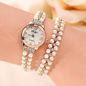 DUOYA donne Pearl Bracelet Round Square Cristallo Orologio Quartz