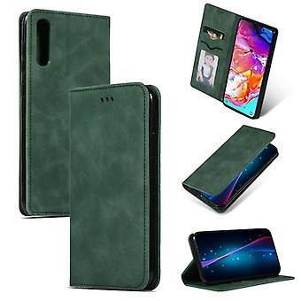Retro Skin Feel Business Magnetic Horizontal Flip Leather Case pour Samsung Galaxy A70 (Army Green)