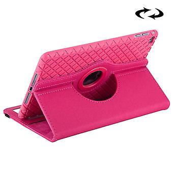 Denim textur horisontellt flip enfärgad läderfodral med 360 grader rotationshållare & Kortplatser & Plånbok för iPad mini 4(Magenta)