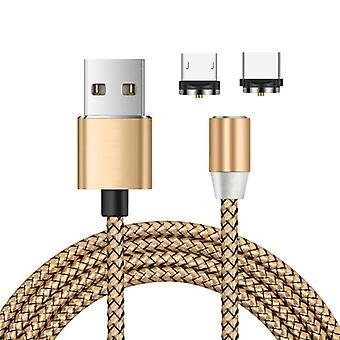 2 in 1 USB naar Micro USB + Type-C / USB-C Magnetic Metal Joint Nylon Gevlochten oplaadkabel, lengte: 2 m (Goud)
