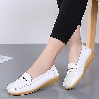 Zapatos de cuero genuinos, zapatos planos antideslizantes mujeres's mocasines