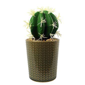 Plantador de rayas de piedra de cerámica de 17 cm con cactus artificial