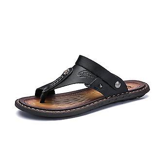 Äkta läder Mode Trendiga Anti-slip Män's Casual Skor Beach Tofflor