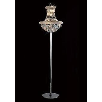 Floor Lamp Alexetra 8 Bulbs Polished Chrome / Crystal