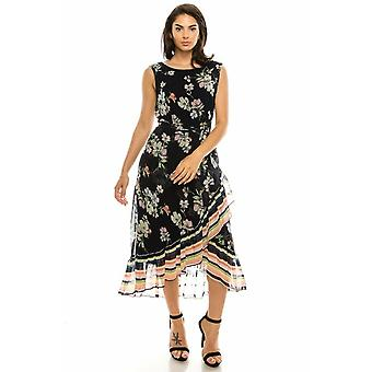 Floral gedruckt ärmellose Tulpe High Low Maxi Kleid