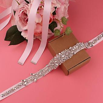Beige Belt Transparent Color Belt Bridal Wedding Crystal Rhinestone Women's