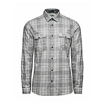 Jack Jones Deadstock ropa de trabajo abotonada camisa masculina de manga larga gris 1207966 CC90