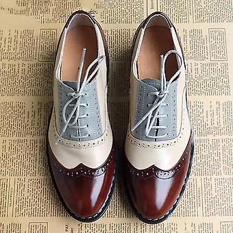 Women Genuine Leather Loafers Oxfords Single Strap Shoes