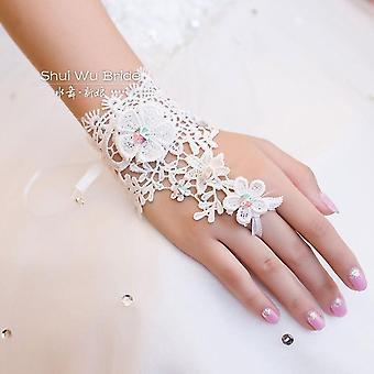 Čipka Krátke biele rukavice bez prstov Svadobné rukavice