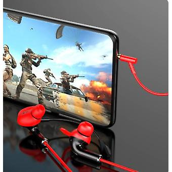 New Line Control Gaming Headset 3.5mm Interface Gaming Chicken Headset Dual Microphone Pluggable