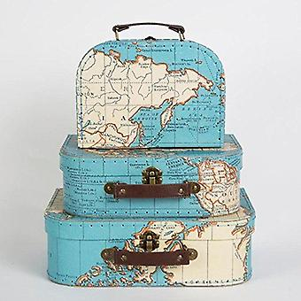 Vintage Map Set of 3 Mini Decorative Suitcases