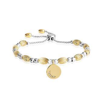 Joma Jewellery Bracelet Bar Moon Disc Prata Ouro 24,5cm Ajustável 4428