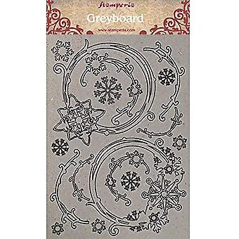 """סטמפריה גרייבורד גזורים A4 1 מ""""מ פתיתי שלג עבים זרי פרחים, סיפורי חורף"""