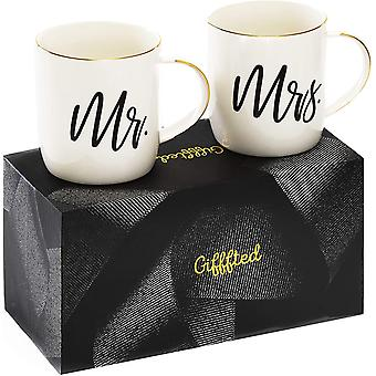 DZK Mr and Mrs Mugs, Unique Gift for Wedding, Gifts for Couple, Anniversary, Engagement, Women,