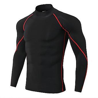 New Men's High Collar Fitness Shirts, Winter Elastic T-shirt
