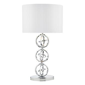 Tafellamp gepolijst chroom met ivoren ronde trommelkap