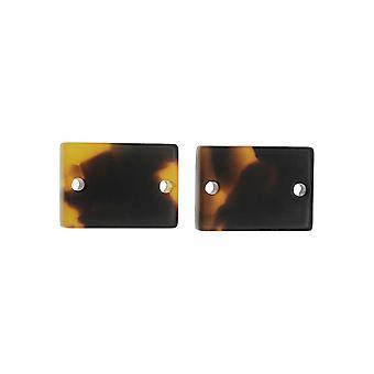 Zola Elements Acetate Connector Link, Rectángulo 14x10mm, 2 Piezas, Concha de Tortuga Marrón