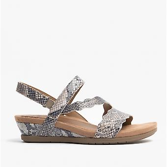 Earth Spirit Poppy Ladies Leather Wedge Sandals Taupe