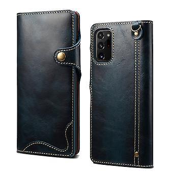 Slot per la custodia del portafoglio in vera pelle per samsung s10plus blu pc998