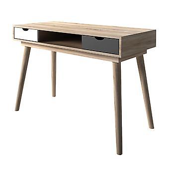 Secily Desk Oak Grey White Drawers