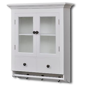 vidaXL keuken hangkast met glazen deur hout wit