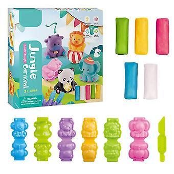 Djur 16,5 * 4 * 16,5 cm plasticine diy handgjord lera barns pedagogiska leksaker färg lera med en mängd olika formverktyg az9329