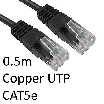 Cavo di rete UTP in rame stampato OEM nero da RJ45 (M) a RJ45 (M) da 0,5 m