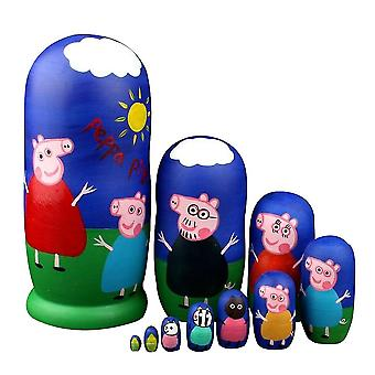 Matryoshka Russian Doll 10-layer Peppa Pig Cartoon Doll Children's Educational Toys