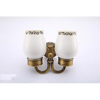 Double Cups For Tooth Brush And Toothpaste, Hotel Bathroom Collection, Solid Brass Ceramic Material