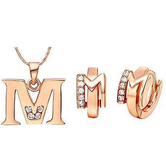 (M)  Alphabet Rhinestone Womens 26 Initial Letter Huggie Earrings Necklace Jewelry Set Rose Gold