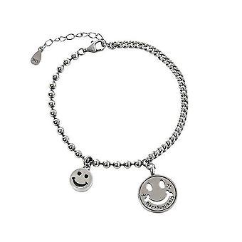 2PCS Simple Hollow Smiling Face Silver plating Bracelet for Women Men Splicing Chain Bracelet